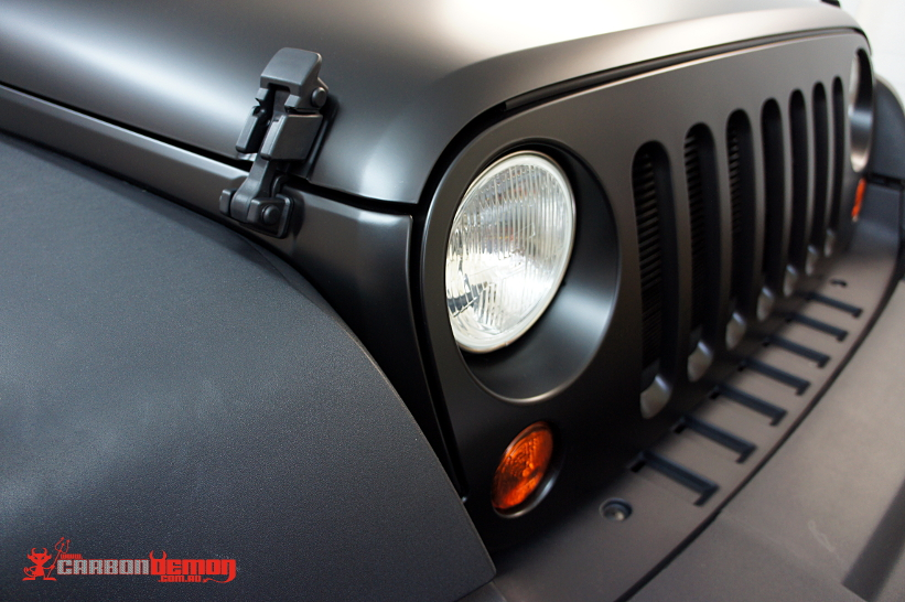 Jeep Wrangler JK Matte Black - Carbon Demon Vinyl Wrap