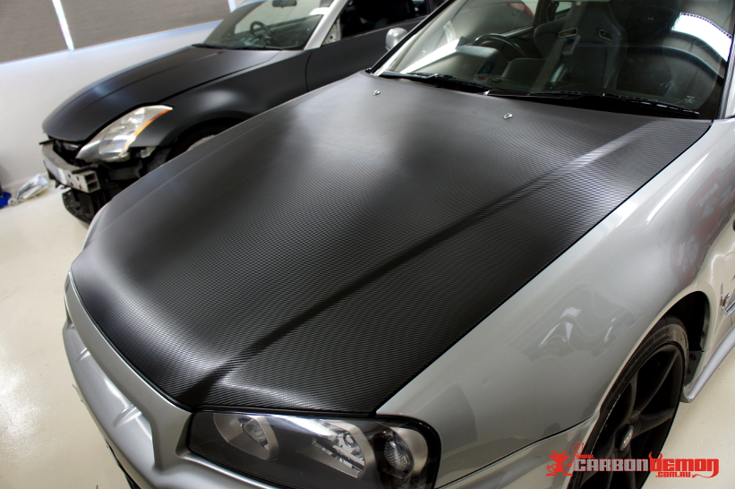 Nissan GT-R R34 Carbon Fibre Bonnet Vinyl Wrap
