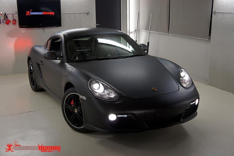 Matte Black Porsche Cayman Vinyl Wrap By Carbon Demon