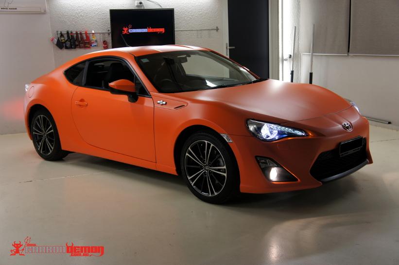 Matte Orange Vinyl Wrap Toyota 86 By Carbon Demon Sydney