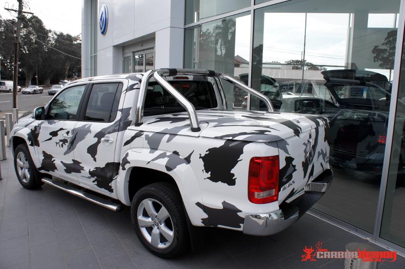 Amarok camouflage vinyl wrap display car