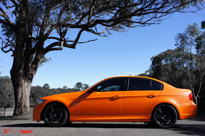 Orange BMW vinyl wrap