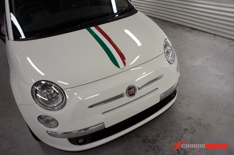 Fiat 500 Abarth Vinyl Stripes Carbon Demon Sydney