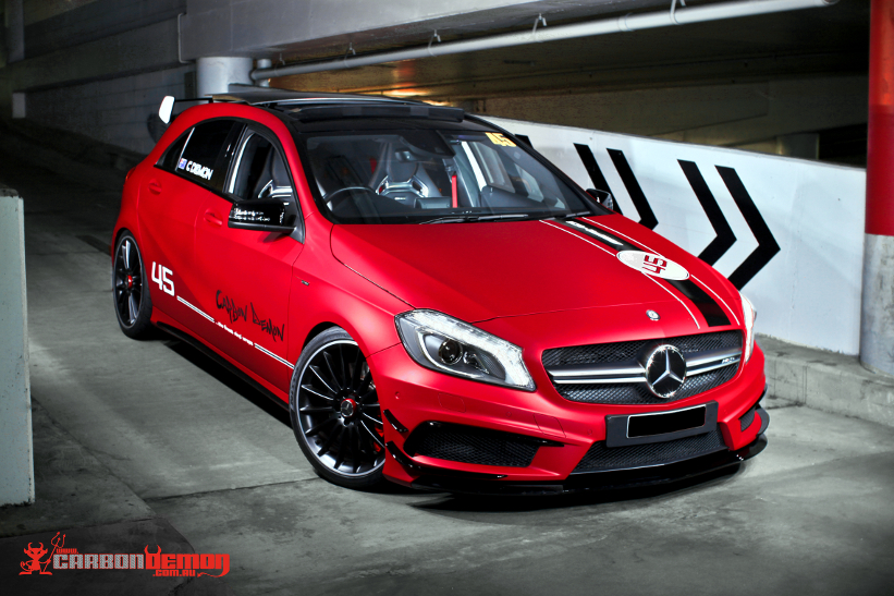 Amg A45 Metallic Matte Red Carbon Demon Vinyl Wrap Sydney